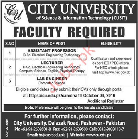 City University Peshawar Jobs