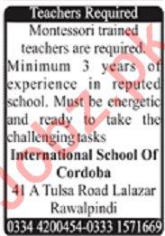International School of Cordoba Lalazar Rawalpindi Jobs