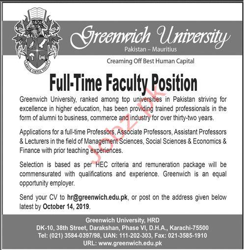 Greenwich University Karachi Jobs