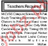 Male & Female Teachers Jobs 2019