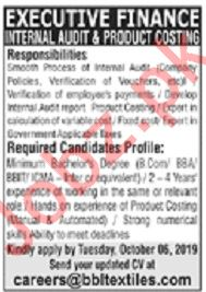 Executive Finance Job 2019 in Lahore