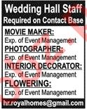 Wedding Hall Staff Jobs 2019 in Lahore