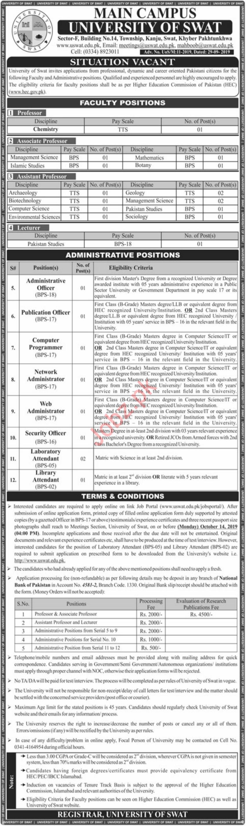 University Of Swat Main Campus Jobs 2019