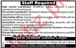Spirit School Scholastic Campus Jobs 2019 in Lahore
