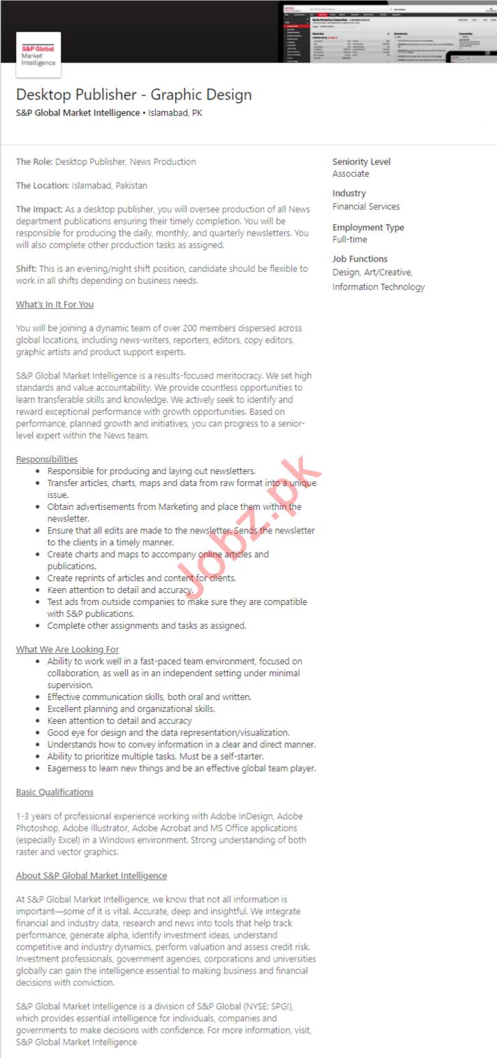 S&P Global Market Intelligence Jobs for Desktop Publisher