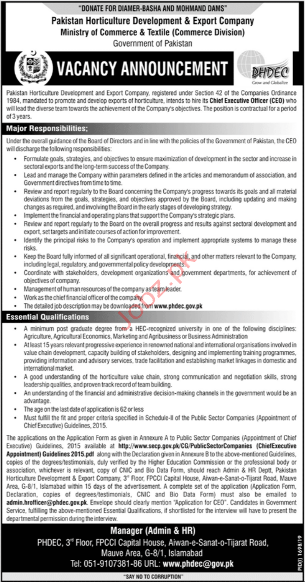 Chief Executive Officer in PHDEC Islamabad Jobs