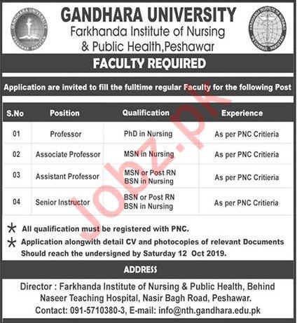 Gandhara University Peshawar Jobs 2019