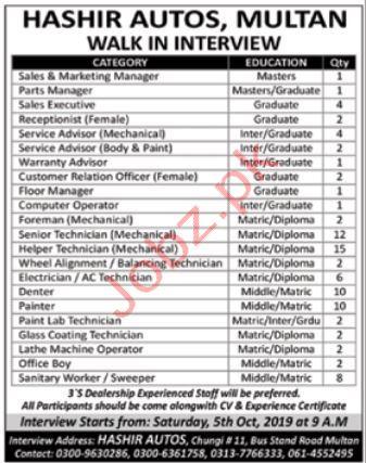 Hashir Autos Multan Jobs