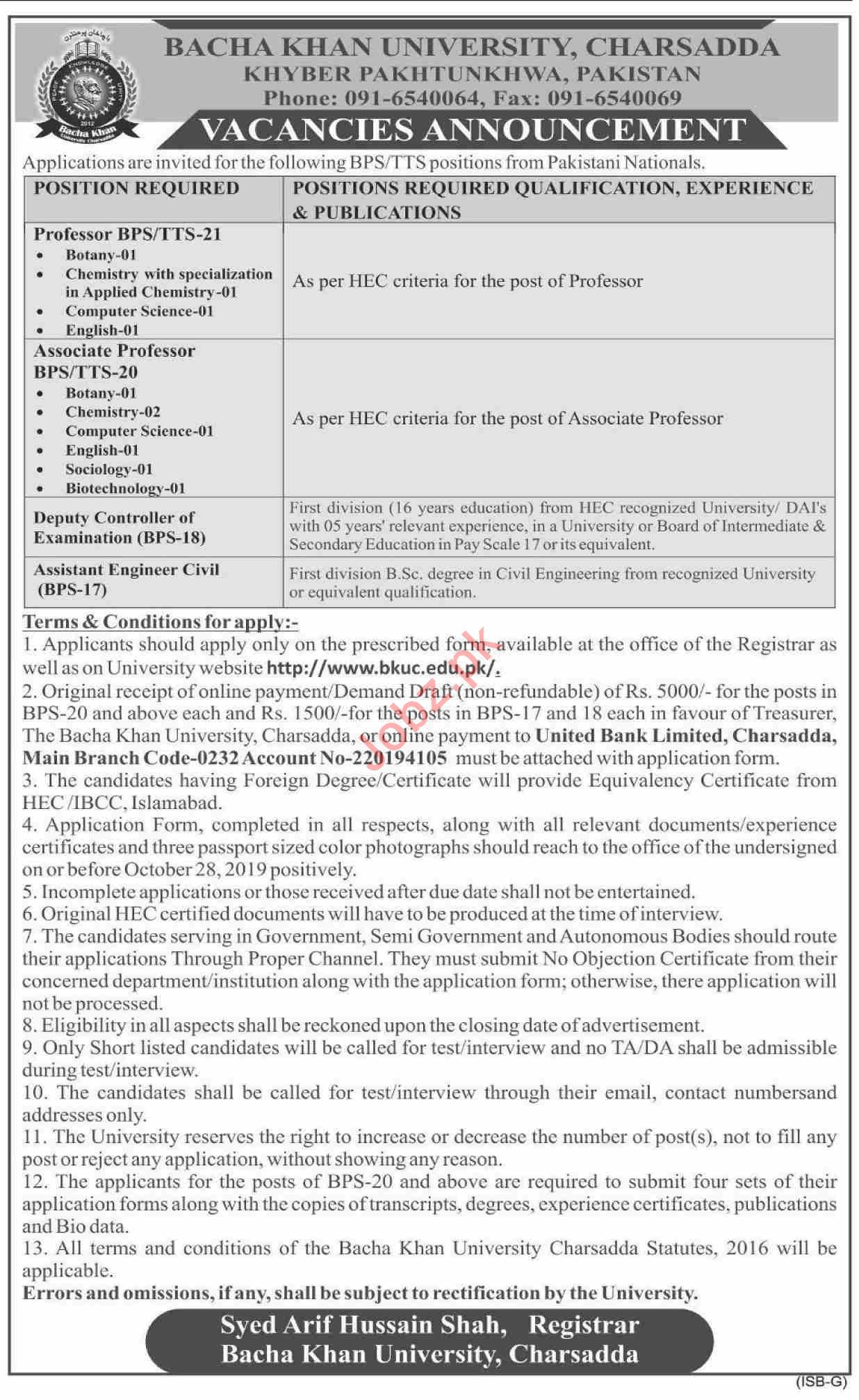 Bacha Khan University Charsadda BKUC Jobs for Professors