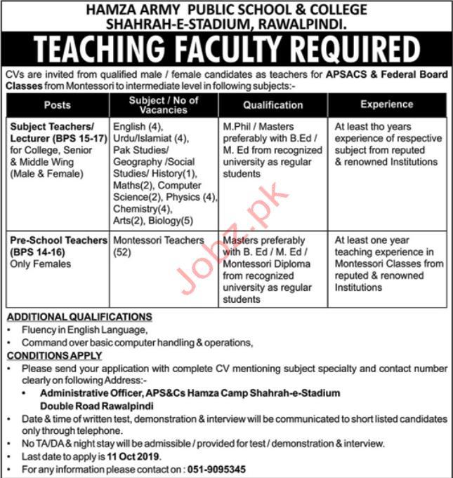 Hamza Army Public School & College Rawalpindi Jobs