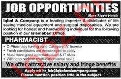 Iqbal & Company Islamabad Jobs for Pharmacist