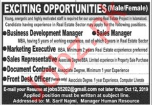 Business Development Manager & Sales Manager Jobs 2019
