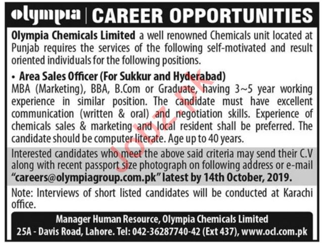 Olympia Chemicals Limited Jobs in Sukkur & Hyderabad
