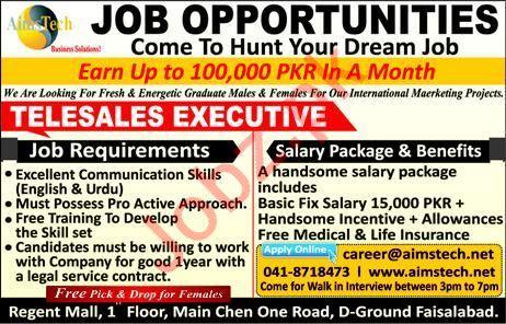 Telesales Executive Job 2019 in Faisalabad