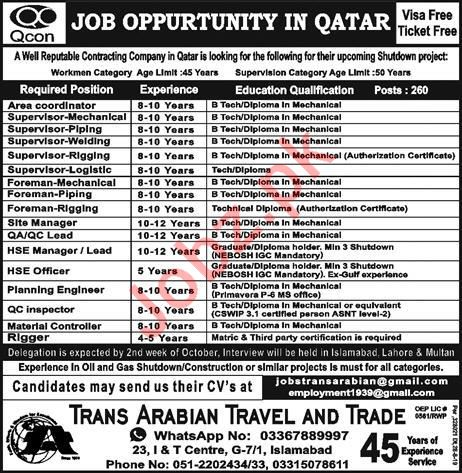Foreman Supervisor Jobs 2019 In Qatar 2021 Job Advertisement Pakistan