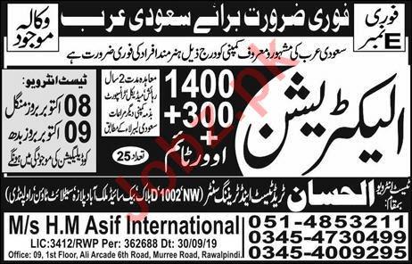 Electrician Jobs Open in Saudi Arabia