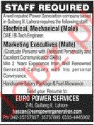 Euro Power Services Company Lahore Jobs