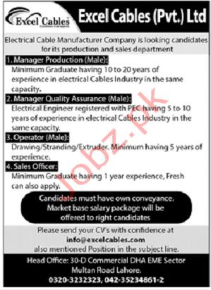 Excel Cables Pvt Ltd Jobs in Lahore 2019