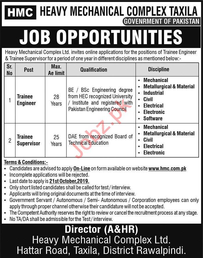 Heavy Mechanical Complex HMC Jobs 2019 in Taxila