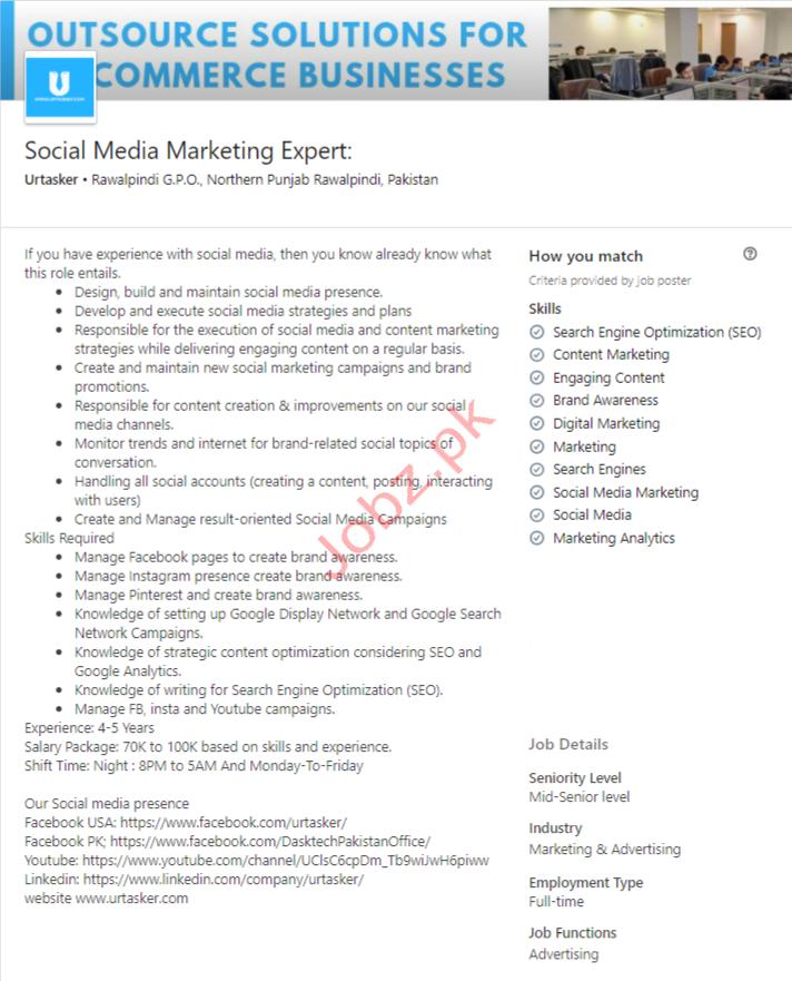 Social Media Marketing Expert Jobs in Rawalpindi