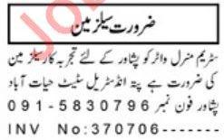 Mineral Water Company Jobs For Salesman in Peshawar KPK