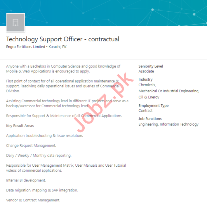 Technology Support Officer Job in Karachi