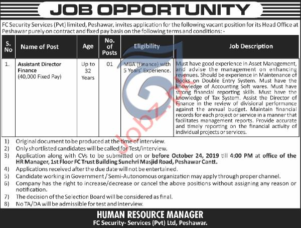 Assistant Director Finance Jobs in Peshawar
