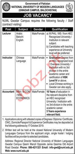 National University of Modern Languages Gwadar Campus Jobs