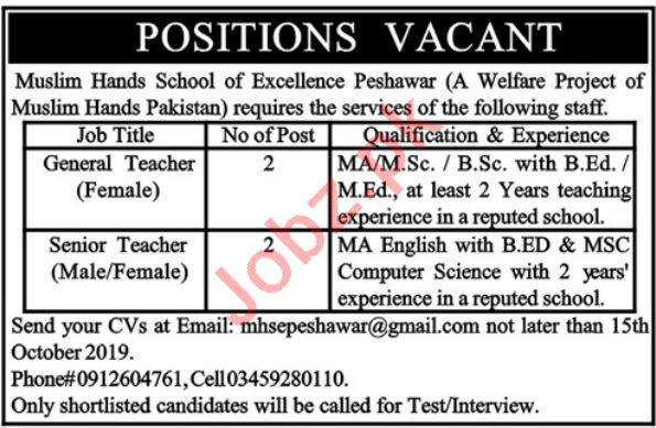 Muslim Hands School of Excellence Peshawar Jobs 2019