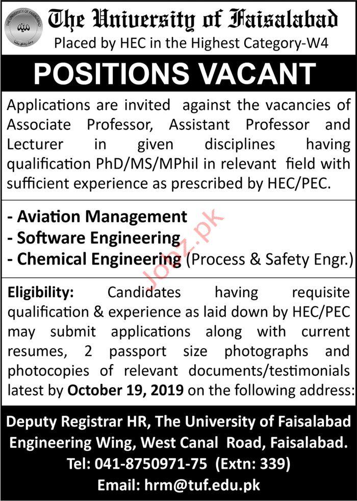 The University of Faisalabad Jobs 2019