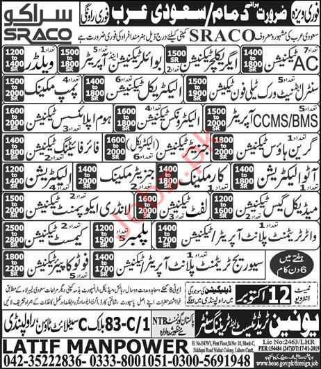 SRACO Company Jobs in Saudi Arabia
