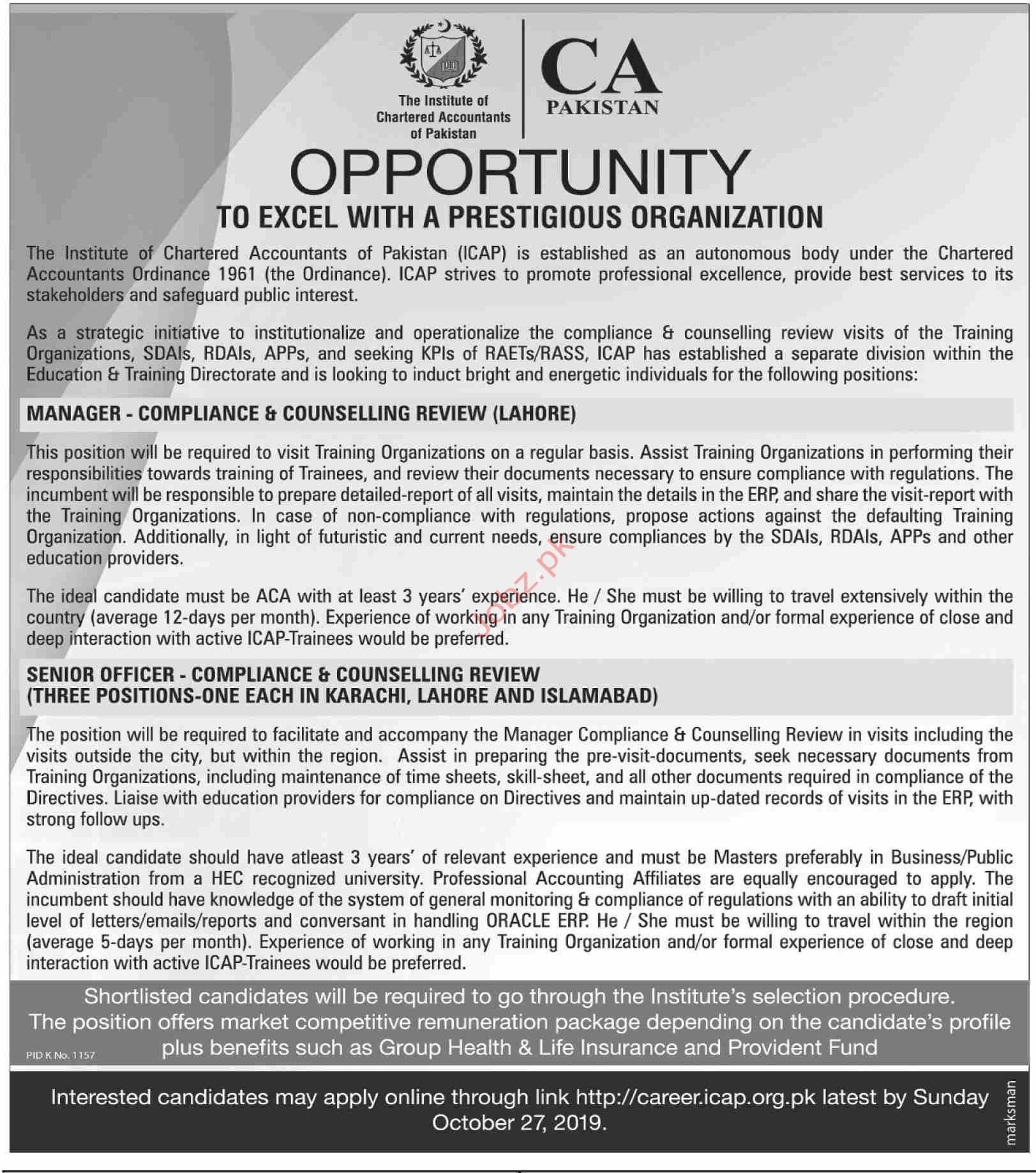 Institute of Chartered Accountants of Pakistan ISB Jobs