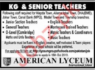 American Lyceum International School Lahore Jobs for Teacher