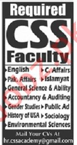 CSS Academy Lahore Jobs 2019 for Teachers