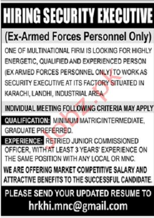 Security Executive Jobs in Karachi