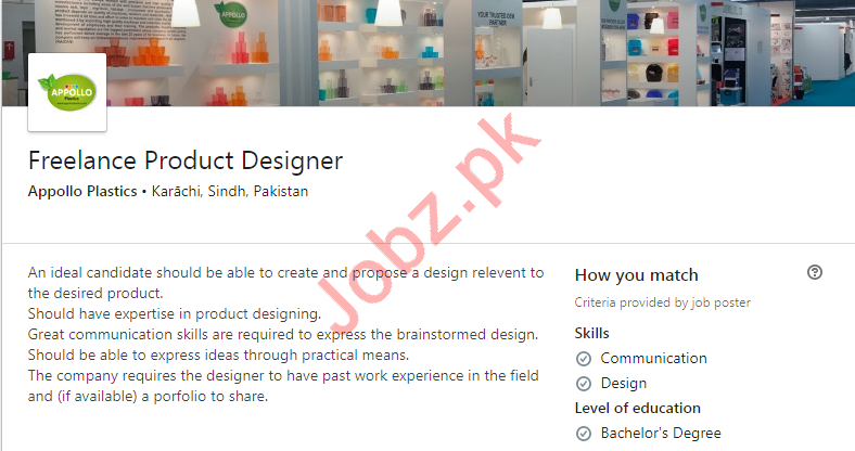 Freelance Product Designer Job in Karachi