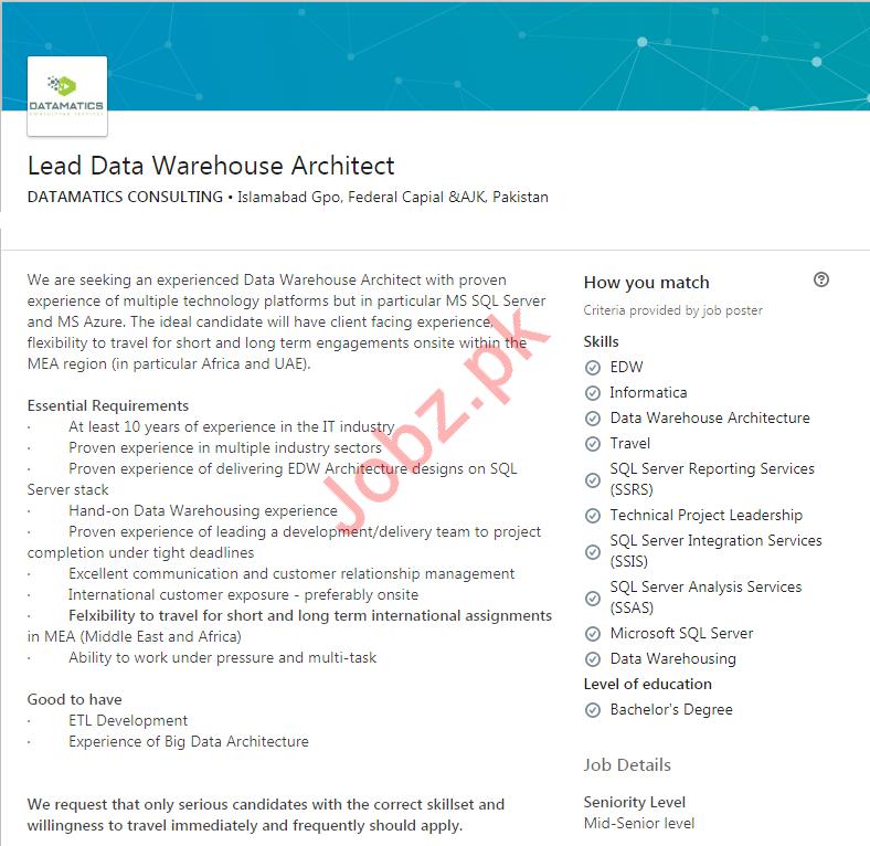 Lead Data Warehouse Architect Job in Islamabad