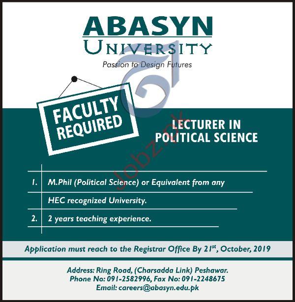 ABASYN University Peshawar Jobs