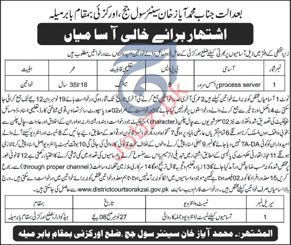 District Court Orakzai KPK Jobs