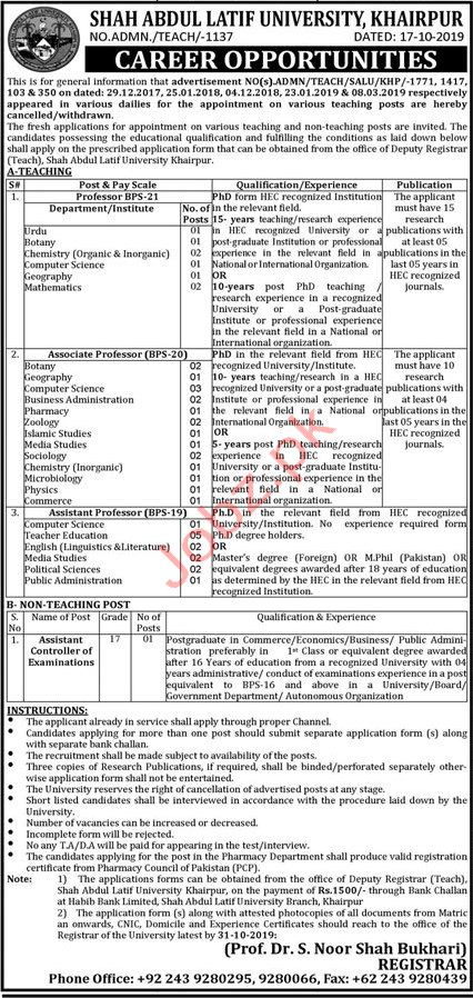 Shah Abdul Latif University Khairpur Jobs 2019