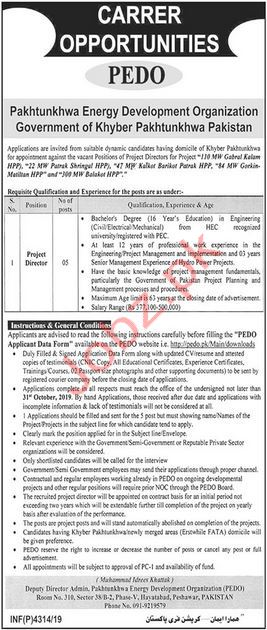 Pakhtunkhwa Energy Development Organization Jobs