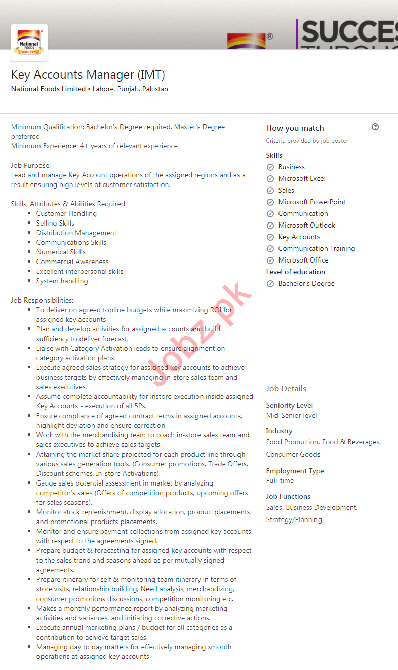 Key Accounts Manager Job in Lahore