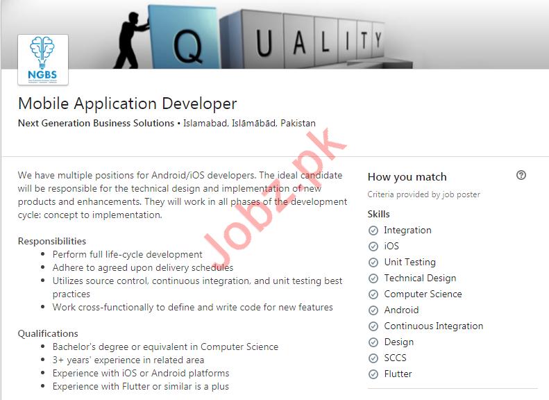Mobile Application Developer Job in Islamabad