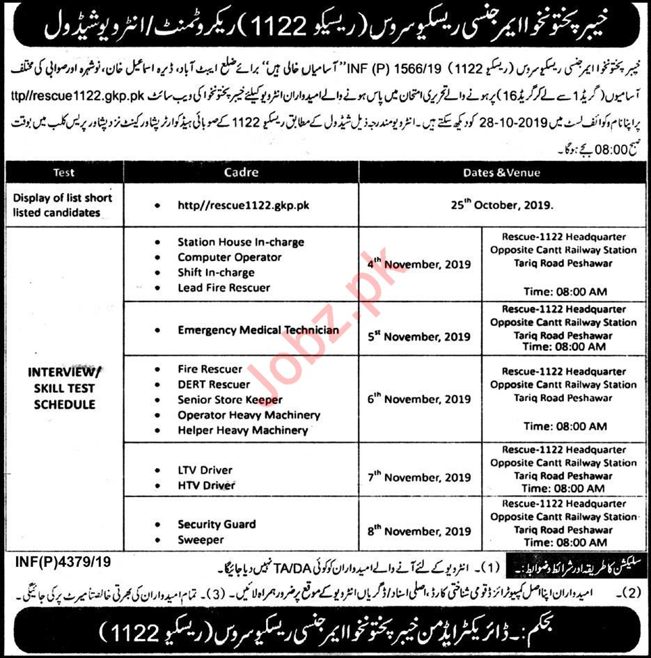 Khyber Pakhtunkhwa Emergency Rescue Service 1122 Jobs 2019