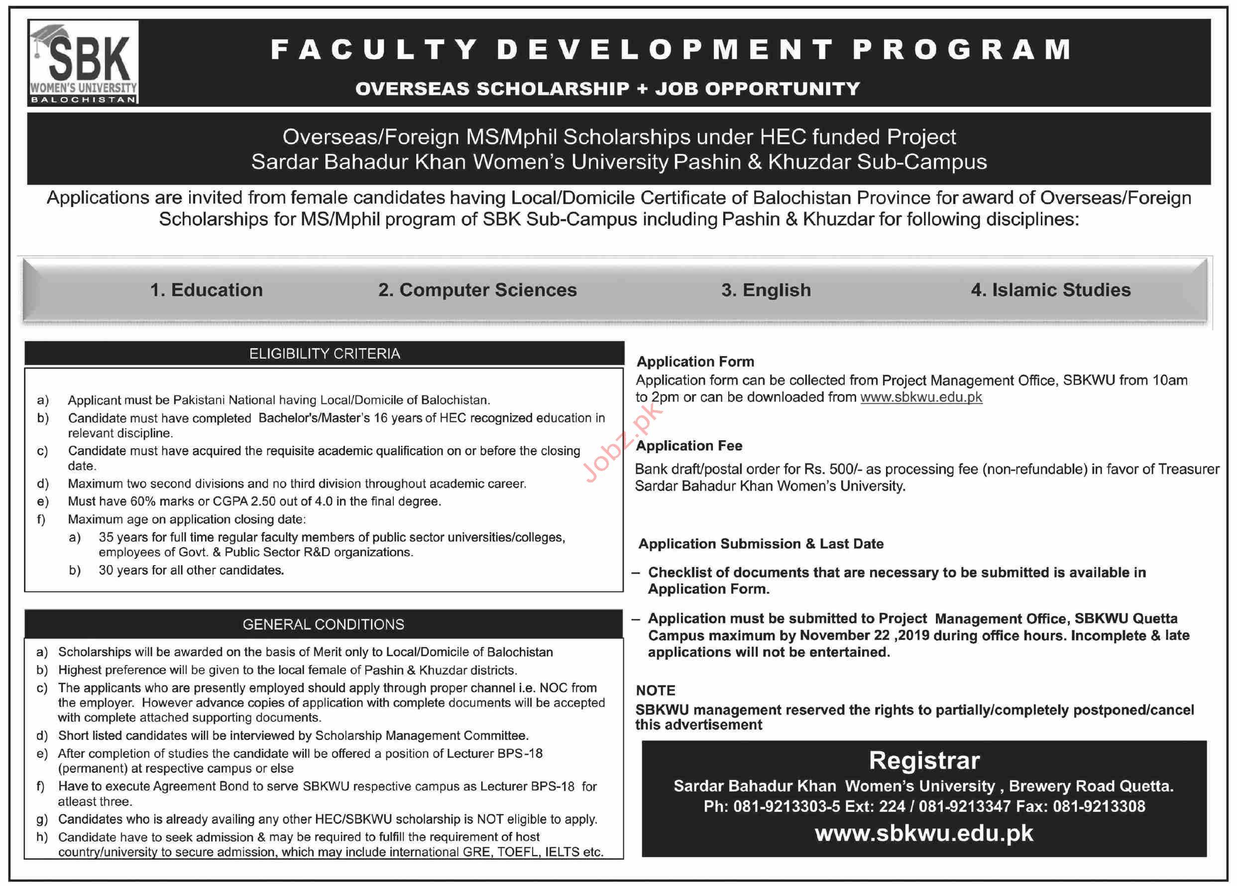 SBK Women University Balochistan Khuzdar Scholarship 2019