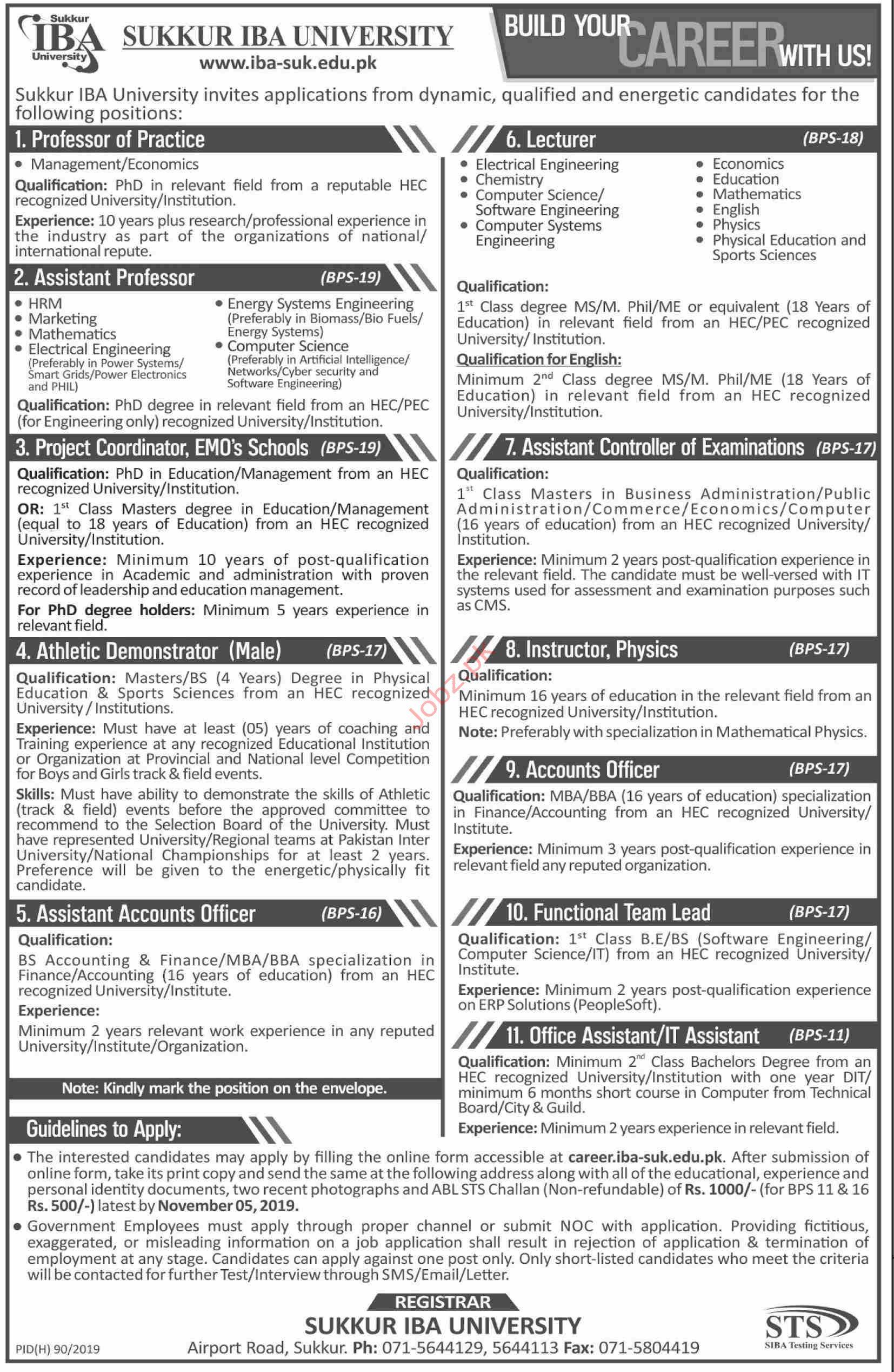 Sukkur IBA University Jobs 2019