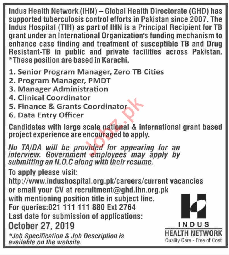 Indus Health Network IHN Global Health Directorate Jobs 2019