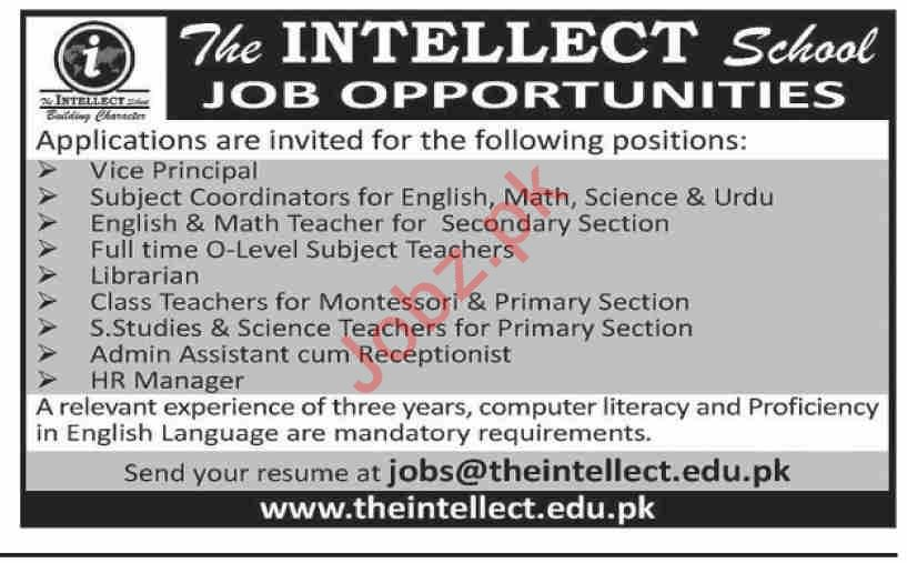 The Intellect School Teaching & Non Teaching Staff Jobs 2019