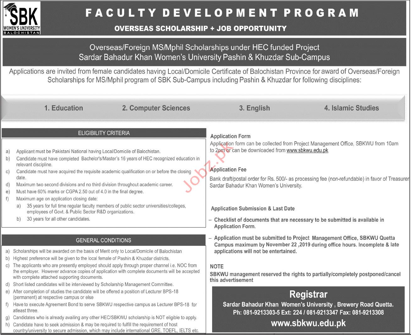 Sardar Bahadur Khan University SBK Women University Jobs