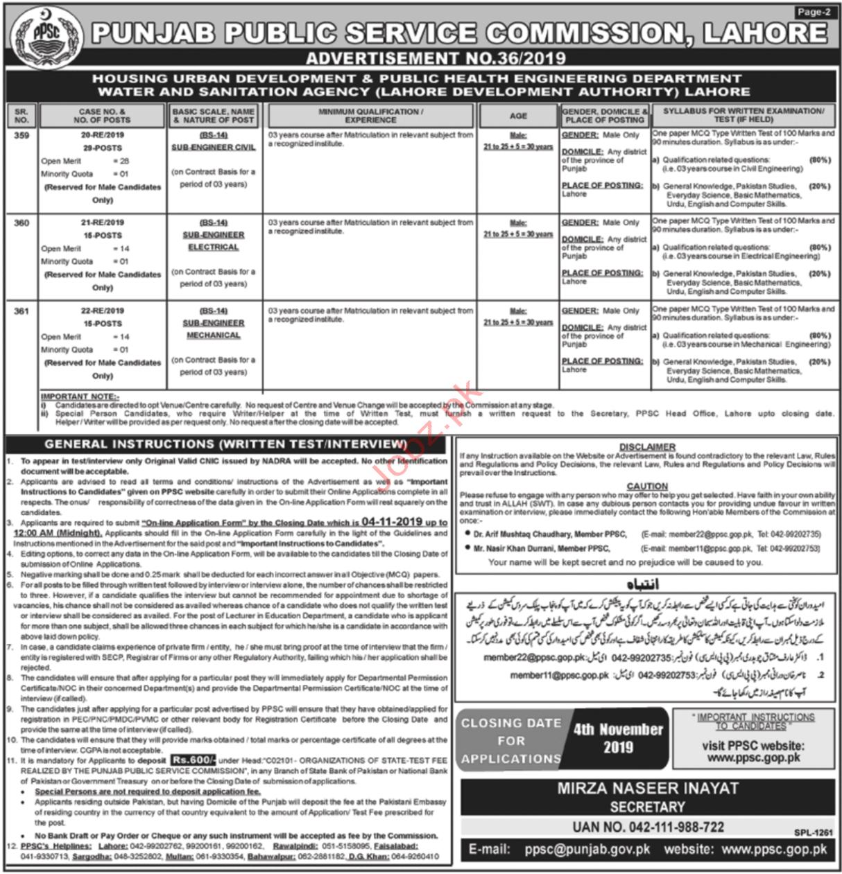 Punjab Public Service Commission Nov 2019 Jobs